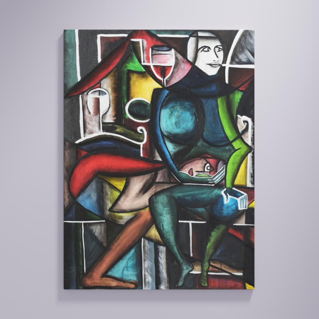Malerei im Stile des Kubismus. Weiblich und Männliche Figur und Wein.