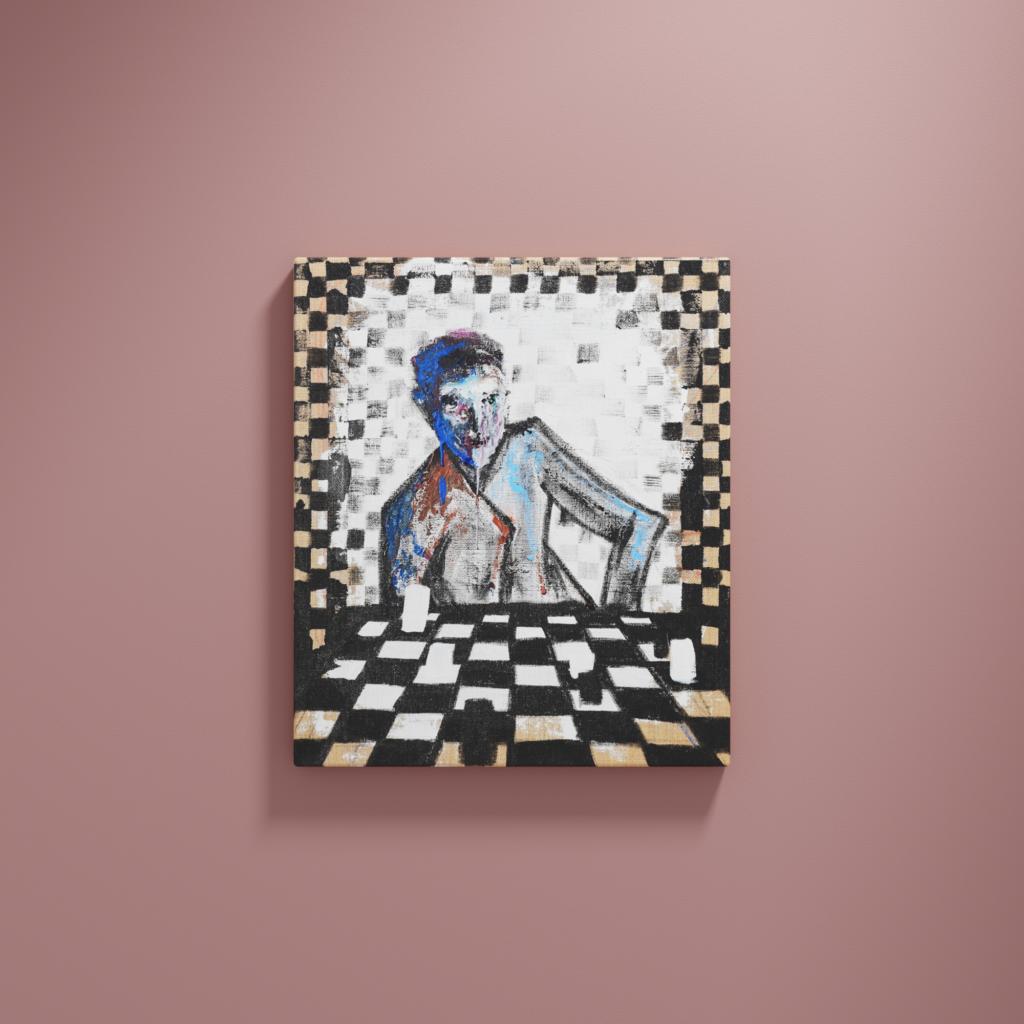 Abstrakte Malerei. Ein Schachspieler der geduldig zerfließt.