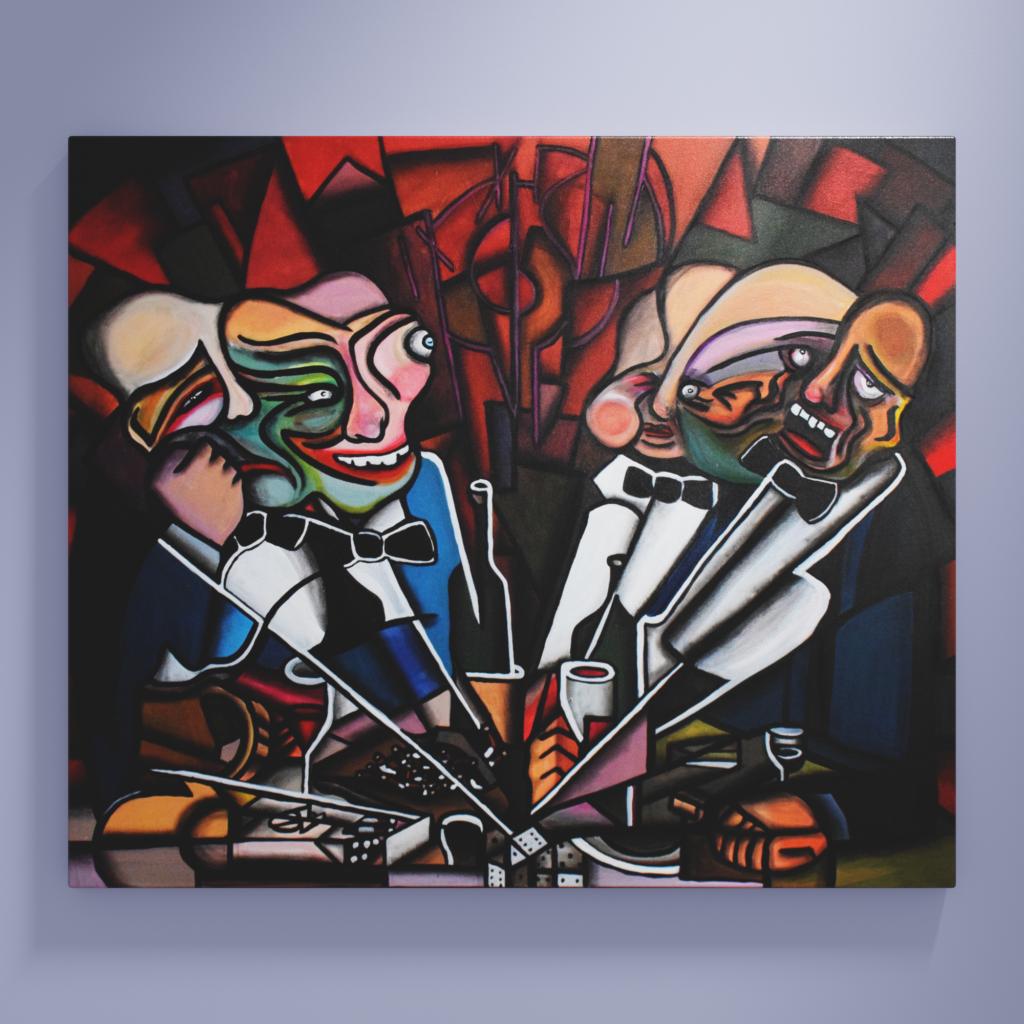 Kubistisches Gemälde. Wein trinkende Männer am Stammtisch.