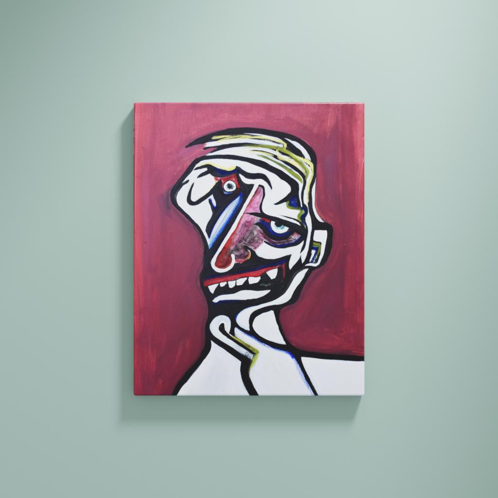 Abstraktes Portrait. Verzerrtes Gesicht eines Alkoholikers.