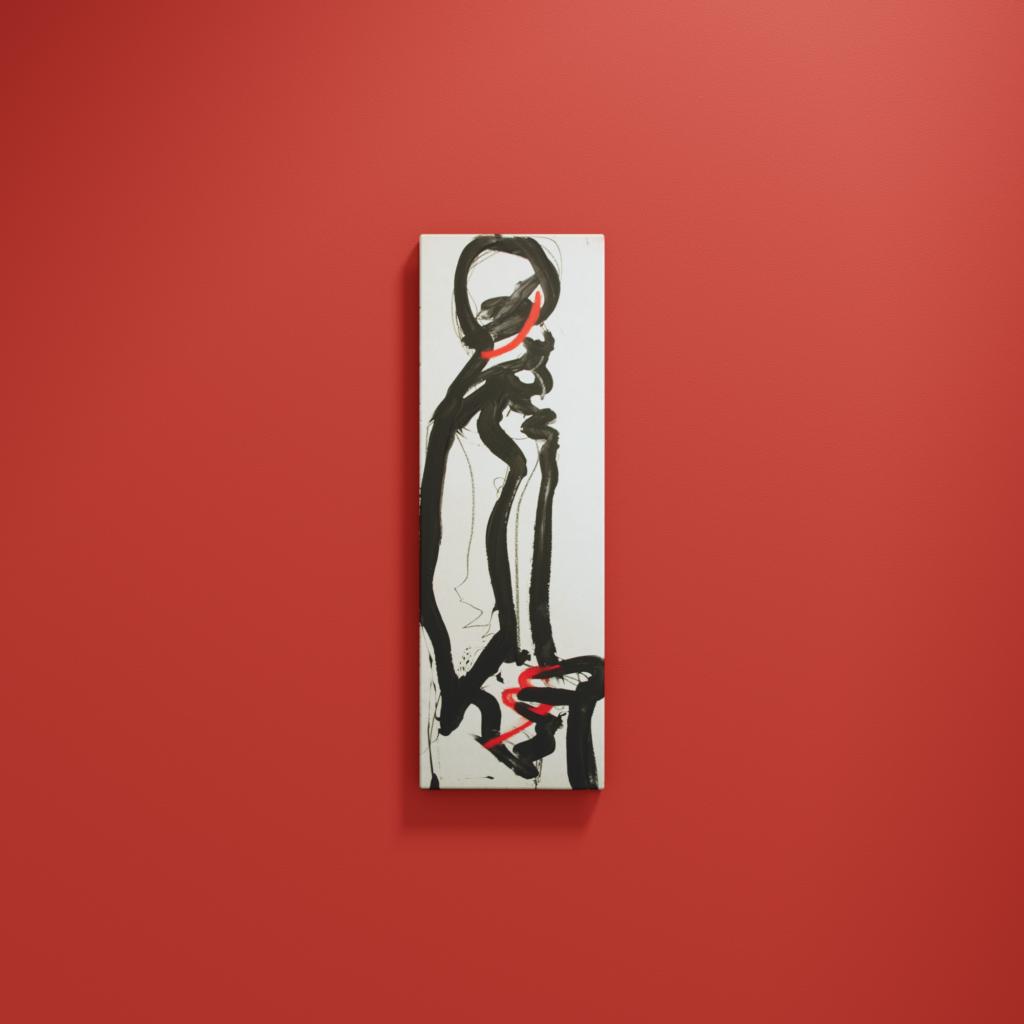 Abstrakte Malerei. Eine aufrechte Figur. Rot und Schwarz.